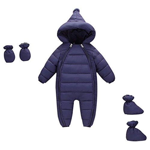 Vine Baby Schneeanzüge mit Handschuhe Footies Winter Overalls mit Kapuze Säugling Strampler Spielanzug, 3-6 Monate