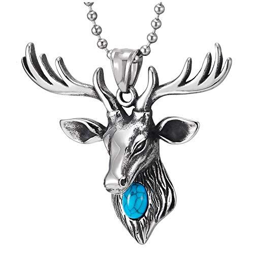 COOLSTEELANDBEYOND Hombre Mujer Cabeza Ciervo Reno Collar con Colgante con Turquesa, Acero Inoxidable, Bola Cadena 75MM