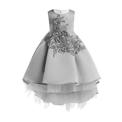 Mädchen Prinzessin Spitzenkleid Lang Weihnachten Kinder Baby Leistung Formal Tutu Mini Ballkleider Abendkleid Elegant für Hochzeit Party Geburtstag Outfits Kleidung (130, Grau) ()