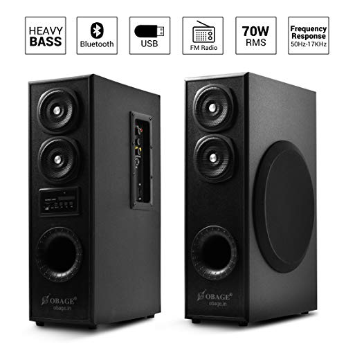 OBAGE DT-2425 Dual Tower Multimedia Speaker System(Black) with Bluetooth,USB, Double Aux, FM,MMC