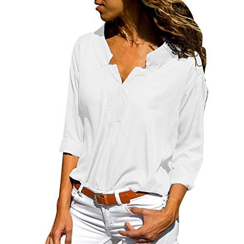 Yvelands Damen T-Shirt Frühjahr und Herbst Fashion Solid Stehkragen Einfarbig (Braun Bart Kostüm)
