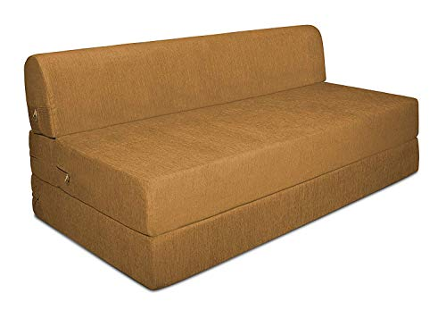 Aart Store Sofa Cum Bed 4x6 Two Seater Sleeps & Comfortably Perfect for Guests Golden Color