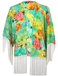 LILY LULU Women Kimono Kaftan Top Festival Jacket Kimono Tassel Kimono Floral Kimono