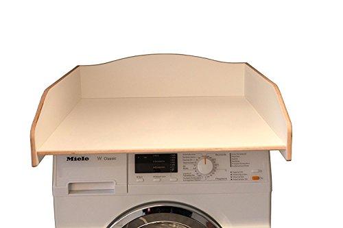 Preisvergleich Produktbild Wickeltischaufsatz weiß, aus echtem Birkenholz, Wickelfläche 60x70cm, Wickelauflage, Wickelkommode, Aufsatz für Waschmaschine oder Trockner
