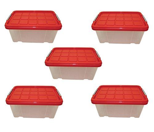 5 x Aufbewahrungsboxen aus Plastik, 30 x 19 x 14 cm, mit Deckel, Eurobox, stapelbar, 5L (5, S)