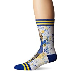 Stance Men's NBA Warriors TF Curry Crew Socks Blue L