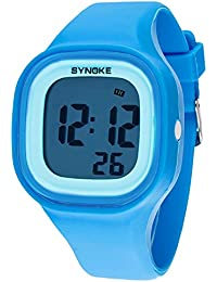 c6fc3cd41861 SYNOKE - Reloj de Pantalla LED Digital para Estudiantes Adolescentes Chicos  Estilo Simple Multifusiones Deportivo con