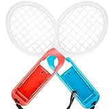 Tennisschläger für Nintendo Switch - MojiDecor Joy Con Tennis Racket Tennisschläger für Joy-Controller für Mario Tennis Aces Spiele (2 Stück, Blau+Orange)