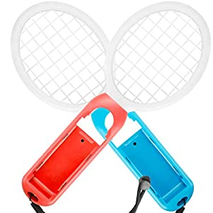 Tennisschläger für Nintendo Switch – MojiDecor Joy Con Tennis Racket Tennisschläger für Joy-Controller für Mario Tennis Aces Spiele (2 Stück, Blau+Orange)