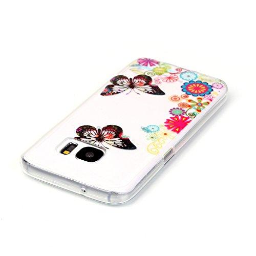 Galaxy S7 Hülle, Galaxy S7 Silikon Hülle Tasche Handyhülle [Kratzfeste, Scratch-Resistant], SainCat TPU Schutzhülle Ultradünn Weich Flexibel Silikonhülle Bumper Case Transparentes Silikon Schutzhülle  Blumen und Schmetterlinge