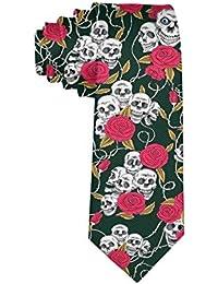 MrDecor - Corbata para Hombre, diseño de Calavera de azúcar, diseño Floral