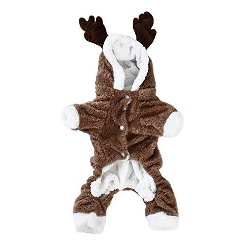 SUNSKYOO Hundekleidung Coral Fleece Elk Design Weihnachtsdeko Winter Warm Dress Up Hoodie Outwear, XL (Ideen Up 60-dress)