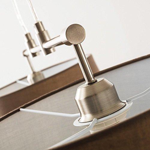 Pendelleuchte aus Stoff  – 2-flammige Zimmerlampe Höhenverstellbar, Farbe Cappuccino - 4