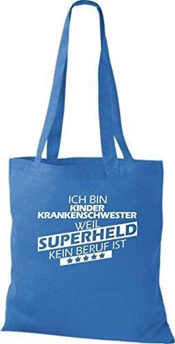 Borsa di stoffa SONO kinderkrankenschwester, WEIL supereroe NESSUN lavoro è Blu reale