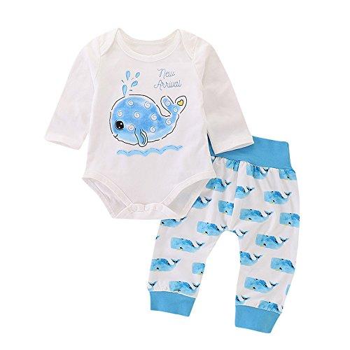 Allence Neugeborenes Baby-Mädchen Junge Tops Kinder Alphabet Cartoon Fisch Print Set Langarm Haber Pants Set - Tarnung-fischen-shirt