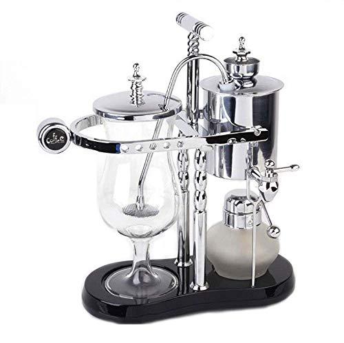 Royal Belgian Kaffee Maschine Balance Siphon Holzsockel Leicht Zu Reinigen Nehmen Permanentfilter Edelstahl Luxuriöse Königliche Familie Maschinen (Gold),Classic8silber