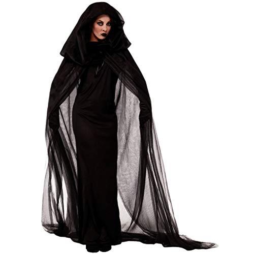 z-/uiefr Frauen Halloween Rollenspiel Vampirs Brautkleid Halloween Cosplay Kostüm Vintage Vampire Horror Braut Langes Kleid (Schwarz, XXL)