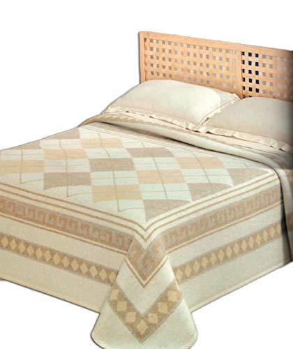 Centesimo web shop coperta jacquard 100% lana 250x210 cm matrimoniale due piazze prodotta in italia classica geometrica colore cammello beige