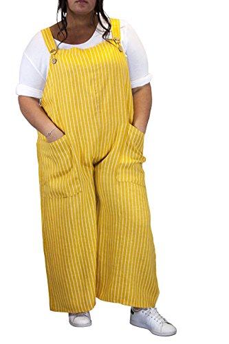 Charleselie94® - Combinaison salopette pantalon femme lin grande taille safran DIMITRI JAUNE Jaune