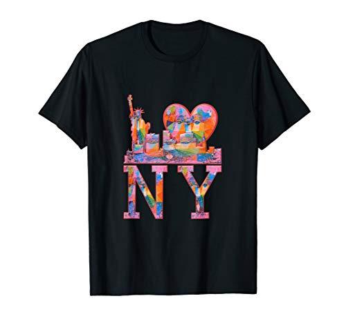I Love NY New York, Colorful Graffiti, Distressed Pink Heart T-Shirt