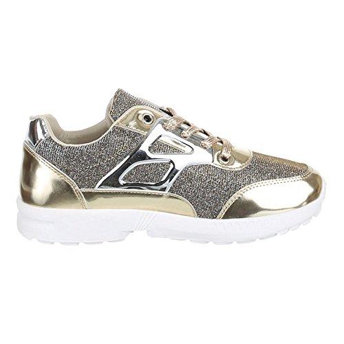 Damen Schuhe, A6015, FREIZEITSCHUHE TRENDIGE GLITTERSTOFF Gold