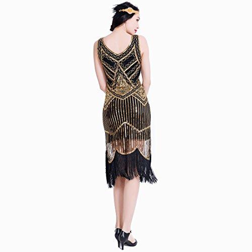 1920er Flapper Kleid Art Deco Frauen Great Gatsby V Ausschnitt Perlen Vintage inspirierte Midi Dress für Prom Party Black Gold