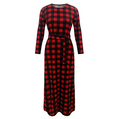 Rcool Retro moda disegno floreale Abito griglia Maniche lunghe partito Evening Dress Rosso