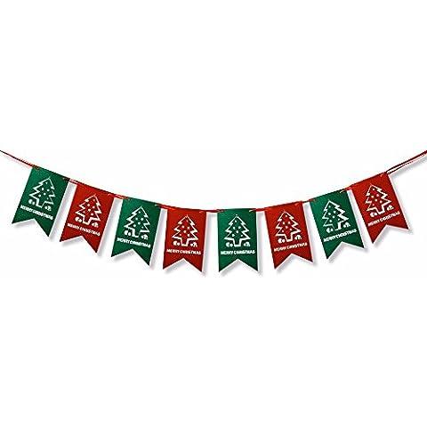 Sixmad (TM) Cancellare Natale decorato mini albero Bandiere Buon Natale Banner di Natale Banner Hanging Xmas Festival Casa & negozio di arredamento - Vacanze Di Natale Banner Flag