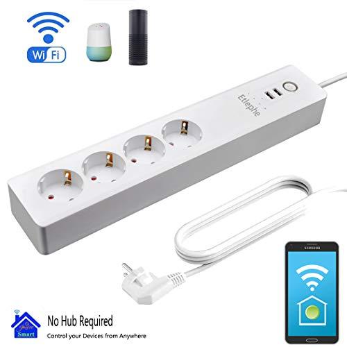 Smart Steckdosenleiste Fernbedienung, Etlephe Intelligente WLAN Mehrfachsteckdose mit Überspannungsschutz Wifi Steckdosen mit 4 AC-Ausgänge,2 USB-Anschlüsse,Sprachsteuerung mit Amazon ECHO Alexa