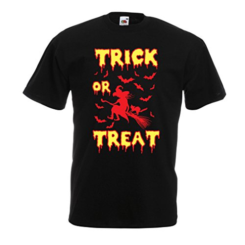 Männer T-Shirt Trick or Treat - Halloween Witch - Party outfites - Scary Costume (Medium Schwarz Mehrfarben)