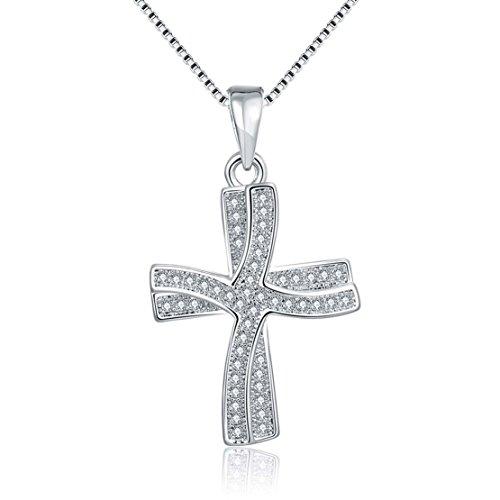 Boomshine K oro classico personalizzato romantico doppia croce collana a catena veneziana ciondolo con zircone bianco, cristallo bianco platino collana geometrica con un regalo per le donne