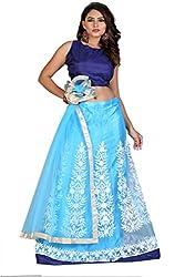 Greenvilla Designs Blue Silk Lehenga