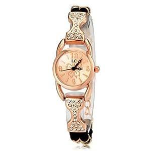 Women's Diamante Rose Gold Round Dial PU Band Quartz Analog Fashion Watch(Assorted Color) ( Color : Black )