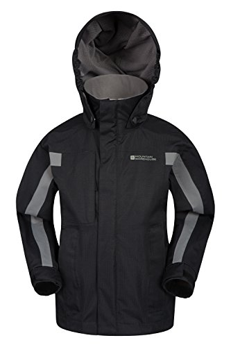 Mountain Warehouse Samson Kids Waterproof Hooded Jacket Black 11-12 years