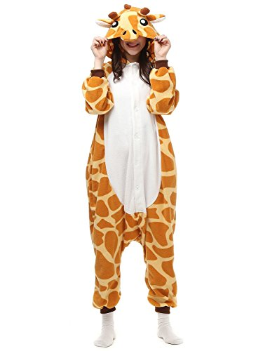 ABYED® Jumpsuit Tier Karton Fasching Halloween Kostüm Sleepsuit Cosplay Fleece-Overall Pyjama Schlafanzug Erwachsene Unisex Lounge,Erwachsene Größe S - für Höhe 150-158cm Giraffe (Halloween Tiere)