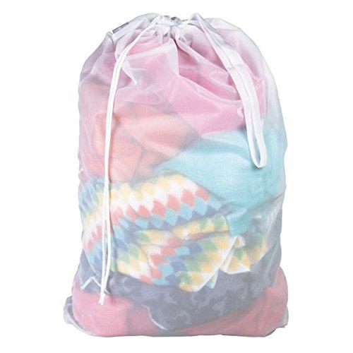 Mdesign sacco portabiancheria in tessuto – cesto panni sporchi ideale per casa o per viaggiare – cesto portabiancheria per panni asciutti o bagnati – bianco