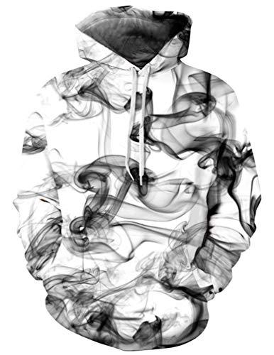 (Ocean Plus Herren 3D Kapuzenpullover Hoodie Halloween Cosplay Sweatshirt Hooded Sweat Einzigartig Galaxie Pullover (S/M (Brustumfang: 112-132CM), Rauch))