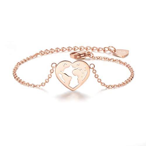 URBANHELDEN - Armband mit Herz Weltkarten Anhänger - Hochwertiger Armschmuck - Edelstahl Armkette - Damenarmband Schmuck - Herz Weltkarten - Rosegold