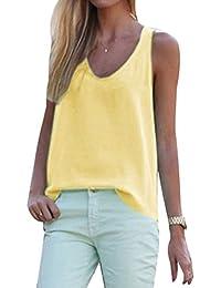 ELFIN® Débardeur Femme Mousseline de Soie Col-V Sans Manche Gilet Vest Top T-shirt Haut Casual Blouse Chemise Chemisier
