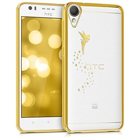 kwmobile Étui transparent élégant avec Design fée pour HTC Desire 10 Lifestyle en doré transparent