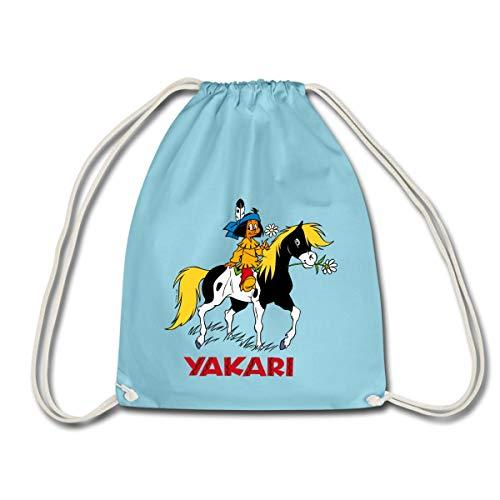 Spreadshirt Yakari Indianer Reitet Auf Pferd Kleiner Donner Turnbeutel, Aqua