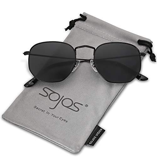 SOJOS Mode Polygon Sonnenbrille Damen Herren Verspiegelte Polarisiert Linse Leichte Unisex Brille SJ1072 mit Schwarz Rahmen/Grau Linse