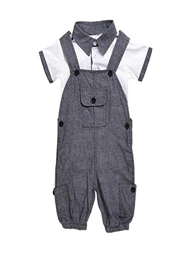 Baby Junge Kleidung Outfit, Honestyi Neugeborenes Baby Kurzarm T Shirt + Overall Baby Set (Grau,100)