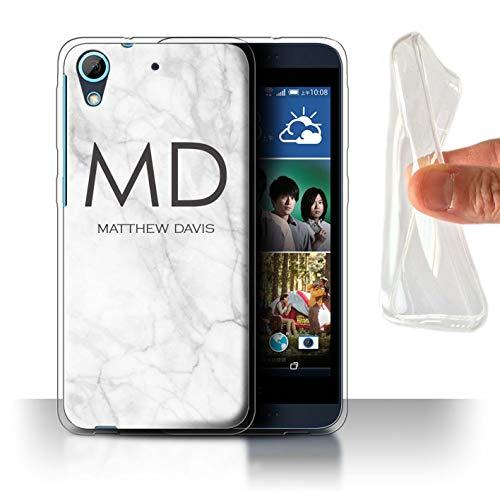 eSwish Personalisiert Individuell Weißer Anthrazit Marmor Gel/TPU Hülle für HTC Desire 626 / Monogramm und Name Design/Initiale/Name/Text Schutzhülle/Case/Etui