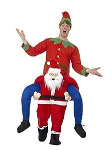 Smiffys-48814 Santa Piggyback, Disfraz de una Pieza con piernas simuladas, Color Rojo, Tamaño único (Smiffy