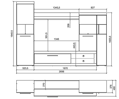 Wohnwand 166201 Anbauwand 4-teilig hidalgo / schwarz Hochglanz inkl. LED Beleuchtung - 2