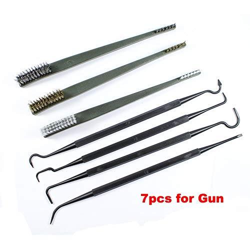 WQ-Zubehör, 7 Teile/Satz Waffe Jagd Reinigungsset 3 stücke Stahldrahtbürste 4 stücke Nylon Pick Tactical Rifle Gun Reinigungswerkzeug