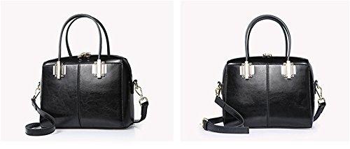 Xinmaoyuan Borse donna in vera pelle pacchetto Boston piccola borsa retrò portatile borsa messenger,vino rosso Nero