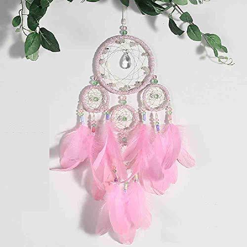 JYHW Nueva Rosa de Cuatro Anillos de Cristal atrapasueños decoración de la Boda Interior Colgantesueño Encantador Colgante niñas Mujeres Amigo Regalo