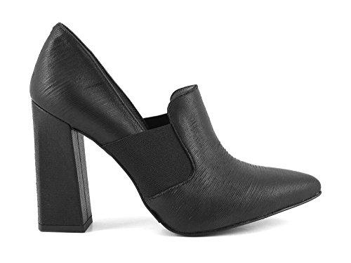CAFè NOIR MA442 nero scarpe donna decolletè punta elastico tacco grosso Nero